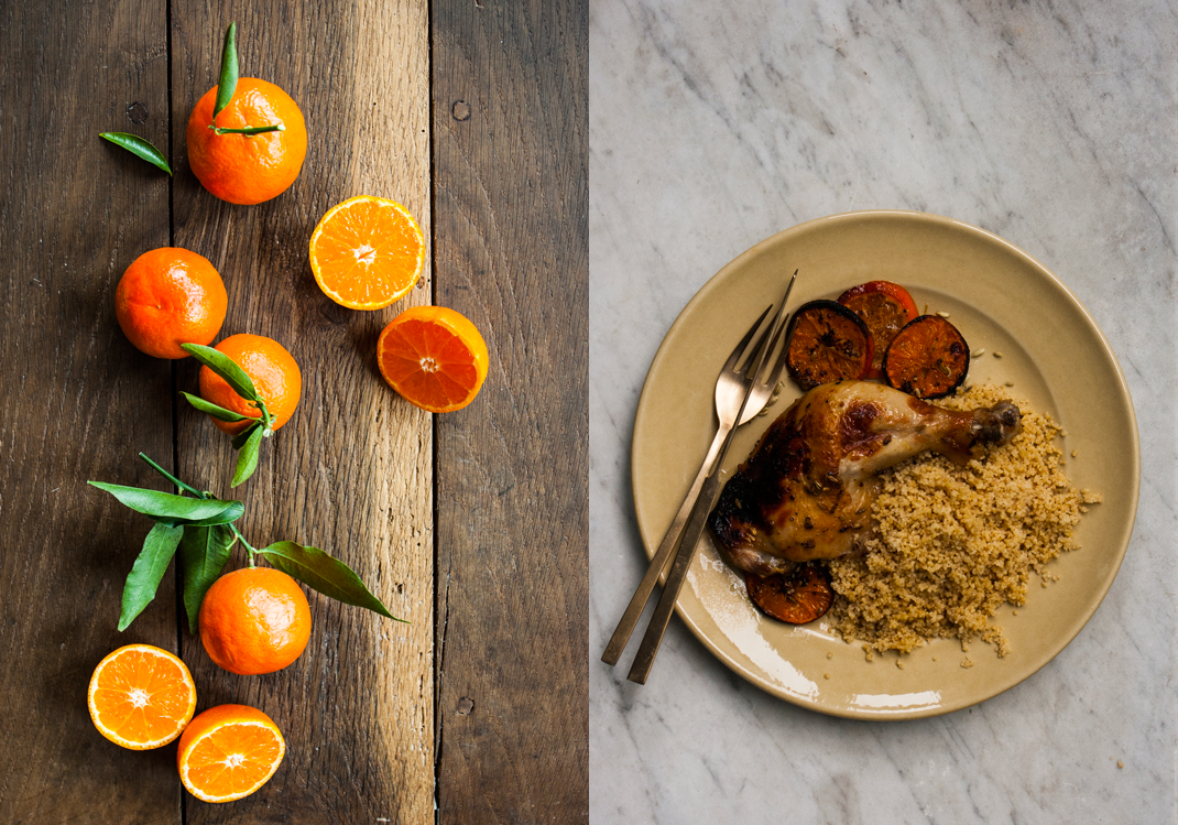 Mandarins | Roasted Chicken with Mandarins served with Plain Whole Wheat Couscous