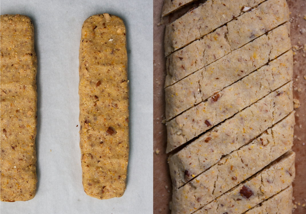 Biscotti Logs on Baking Sheet | Baked and Cut Biscotti