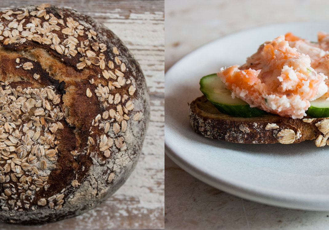 Sprouted Oat Bread from Publican Quality Bread | Salmon Rillettes and Cucumber on Toast