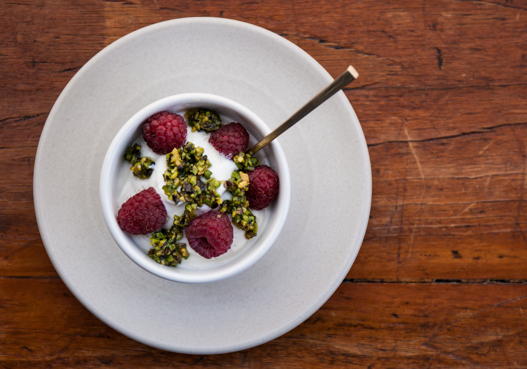 Yogurt with Pistachios, Honey, and Raspberries