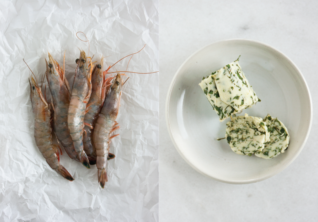 Head-on Jumbo Shrimp in the Shell | Lovage Butter