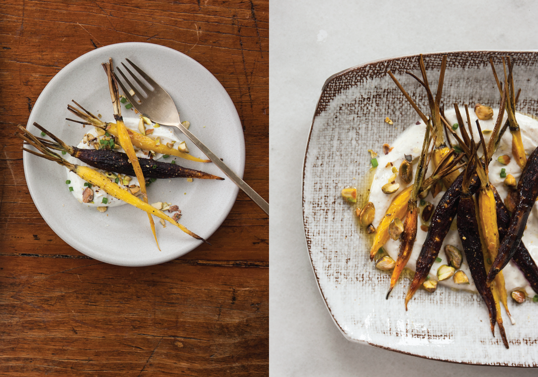Roasted Carrots with Sumac Yogurt Sauce and Pistachios