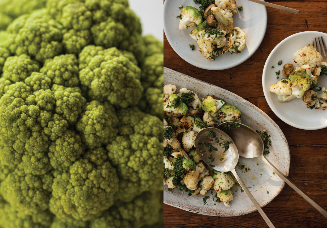 Green Cauliflower | Seared Cauliflower with Salsa Verde and Olives