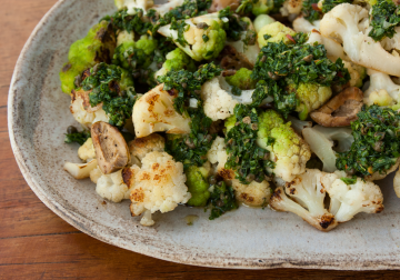 Seared Cauliflower with Salsa Verde and Olives