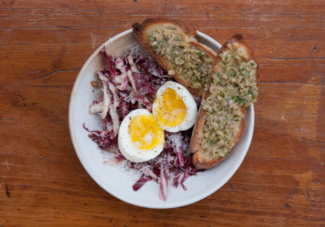 Radicchio Salad with Soft Boiled Egg and Tapenade Toast