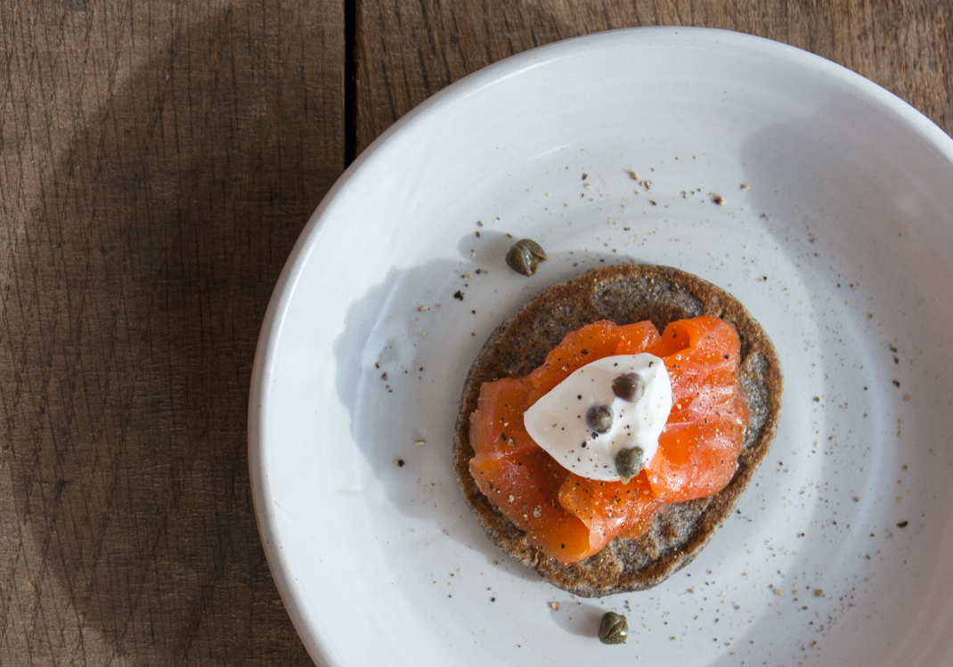 Buckwheat Blini with Snaggletooth Ocean Trout Gravlax