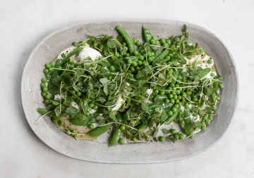 Burrata with Peas